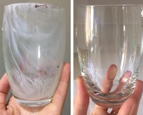 Стеклянный стакан до и после мытья в посудомоечной машине с таблеткой Био Мио