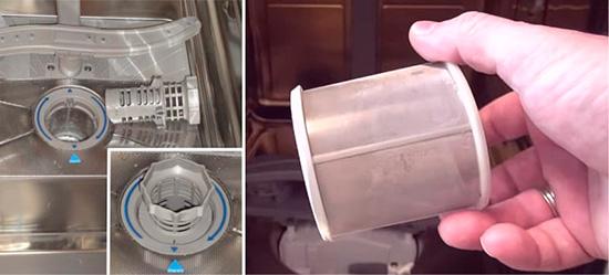 Извлечение и промывка фильтра в посудомоечных машинах Бош для устранения засора