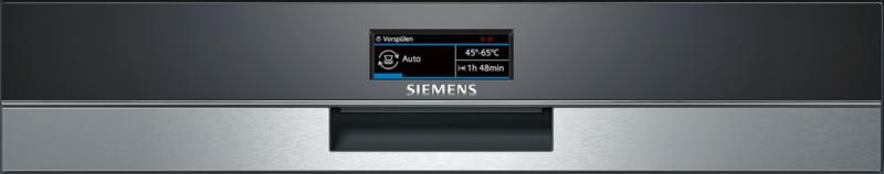 Приборная панель с электронным дисплеем на фасаде посудомоечной машины Siemens SN 578S00 TR