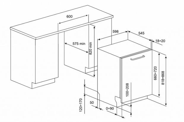 Подбор размеров встраиваемой посудомоечной машины под ваш кухонный гарнитур