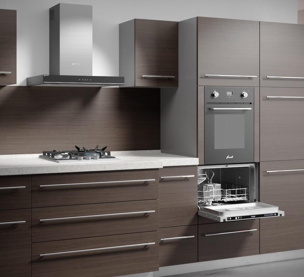 Пример расположения встраиваемой компактной посудомоечной машины Флавия на кухне