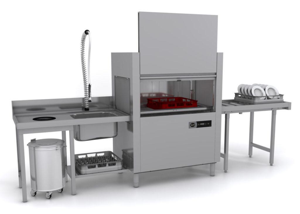 Большой посудомоечный комплекс промышленного типа для больших столовых или ресторанов