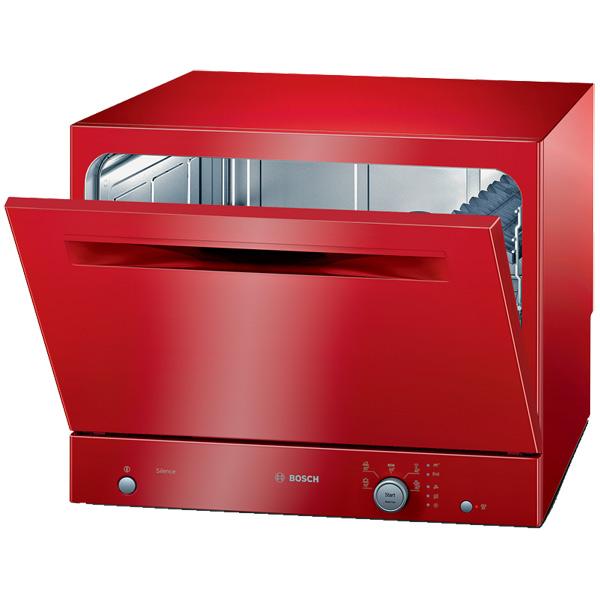 Компактная настольная посудомоечная машина ярко красного цвета для современной кухни