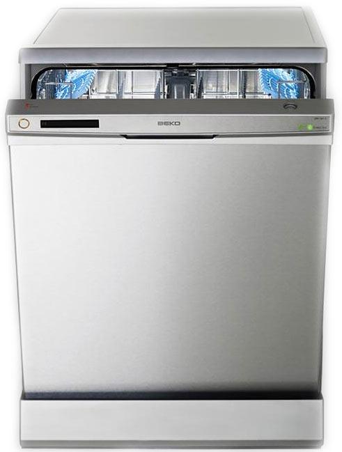 Широкоформатная стильная посудомоечная машина Beko DFN 1001 X с голубыми аксессуарами