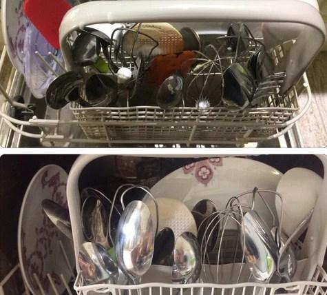 Набор посуды до и после мытья в посудомоечной машине с таблеткой Био Мио