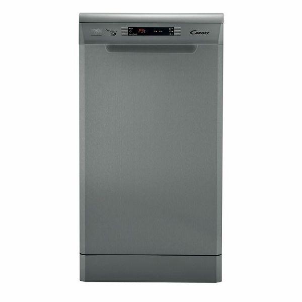 Модель Candy CDP 4609 узкой отдельностоящей посудомоечной машины темно серого цвета