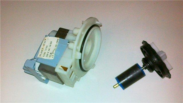 Разбор сливного насоса посудомоечной машины для ремонта при возникновении постороннего шума