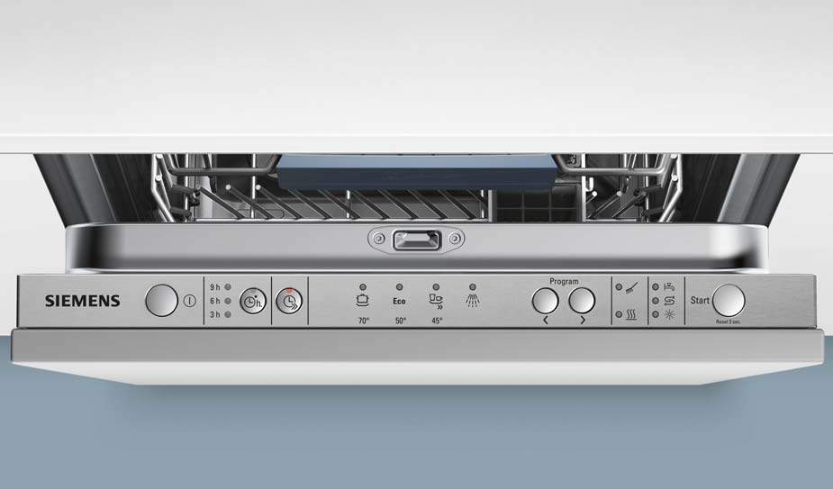 Скрытая механическая панель задач на торце дверцы посудомоечной машины Сименс