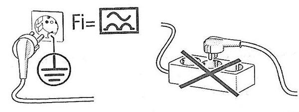 При установке посудомоечной машины необходимо монтировать встроенную розетку с заземлением