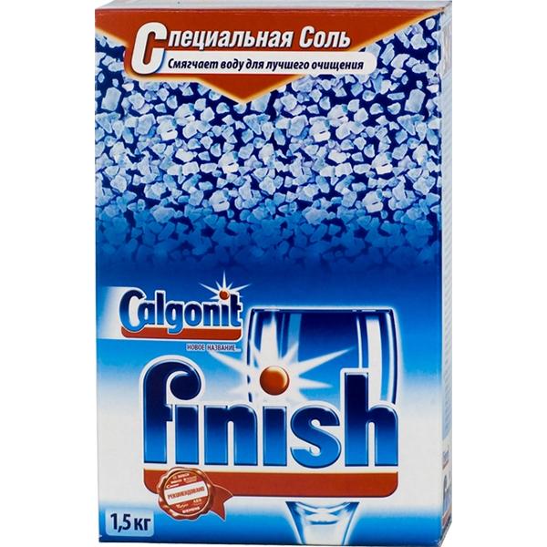 Упаковка специализированной соли Финиш для посудомоечных машин весом 1,5 килограмма