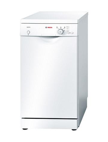 Узкая отдельностоящая посудомоечная машина BOSCH SPS 40E12 RU со фронтальной механической панелью задач