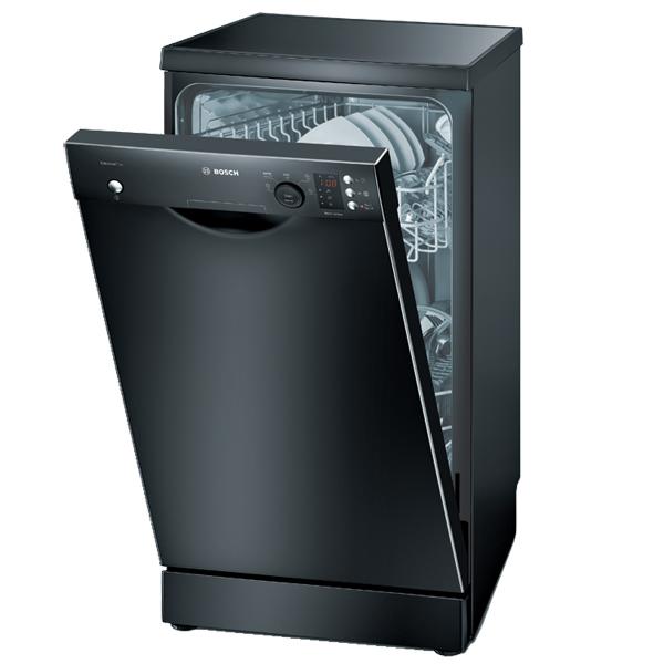 Элегантная посудомоечная машина Bosch SPS 53E06 в черном цвете и фронтальной панелью задач с дисплеем