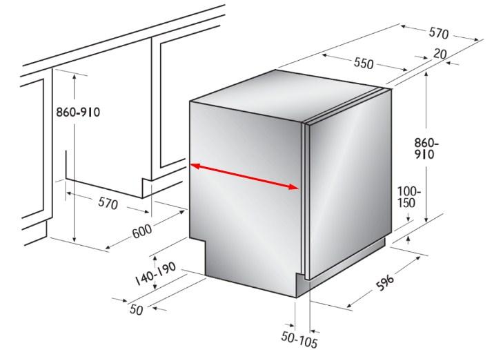 Размеры стандартной встраиваемой посудомоечной машины для кухни больших размеров