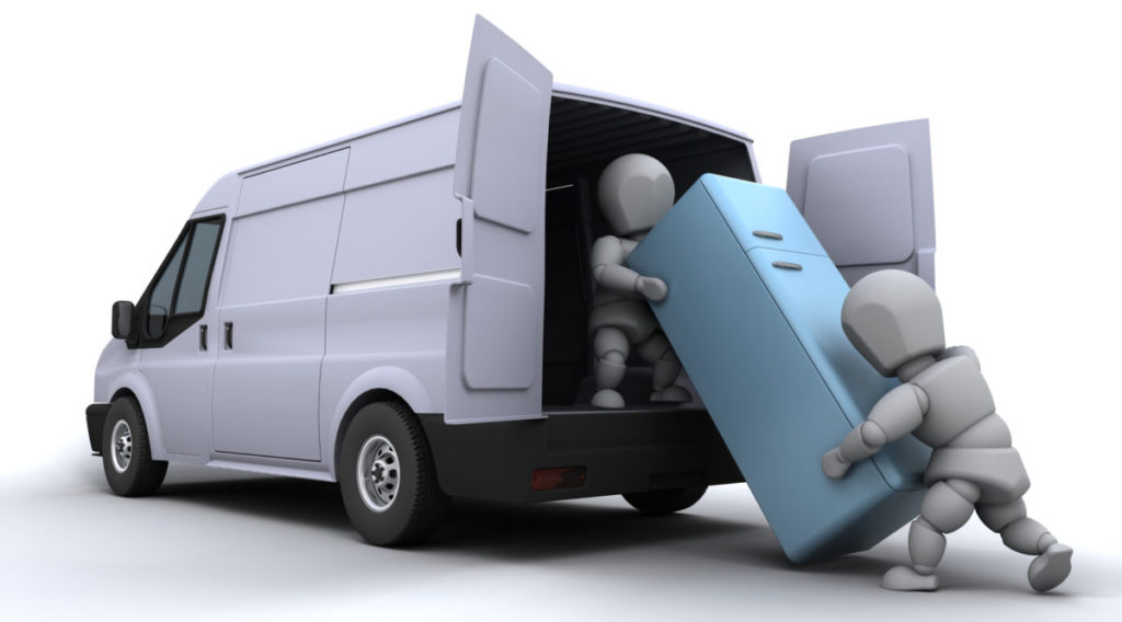 3D модель правильной загрузки холодильника в фургон двумя людьми при транспортировке