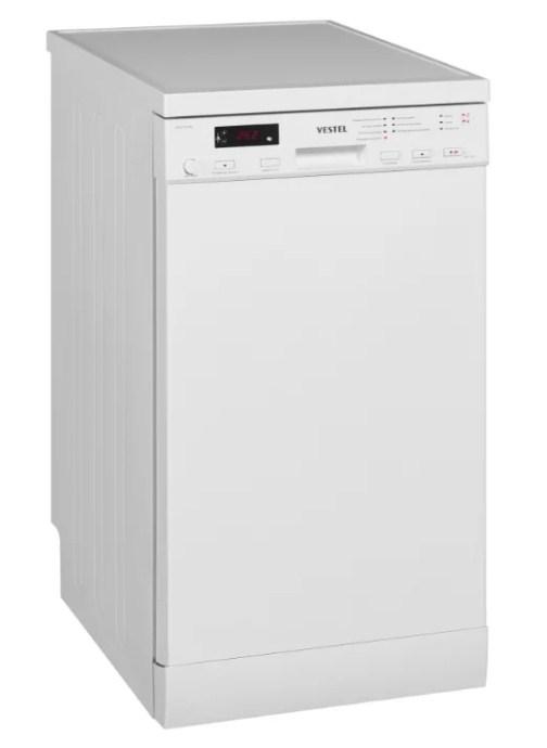 Модель узкой отедльностоящей посудомоечной машины VDWIT 4514 W от компании Вестел
