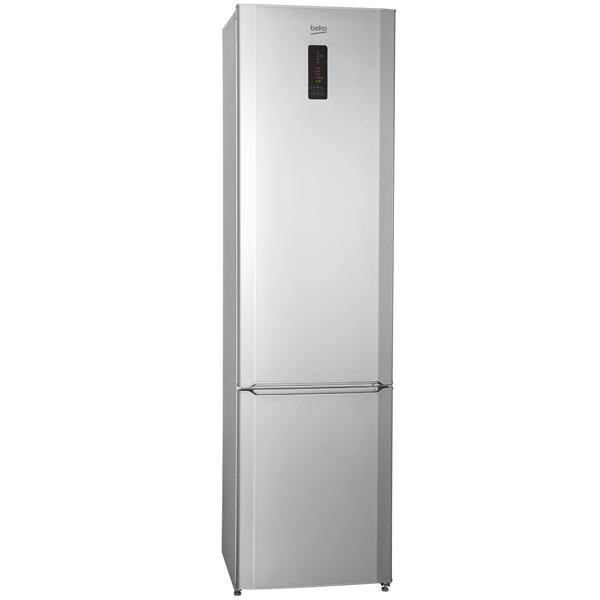 Узкая и высокая модель двухкамерного холодильника Беко CMV 533103 S с нижней морозилкой и панелью на дверце