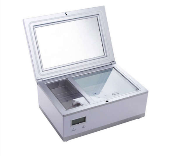 Горизонтальный холодильный бокс для хранения косметики с двумя камерами и дополнительной крышкой с зеркалом