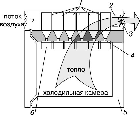 Схема распределения потоков воздуха в термоэлектрических моделях бытовых холодильников