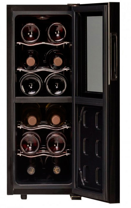 Миниатюрный неглубокий винный шкаф Dunavox DAT-12.33DC, рассчитанный на 12 бутылок для хранения