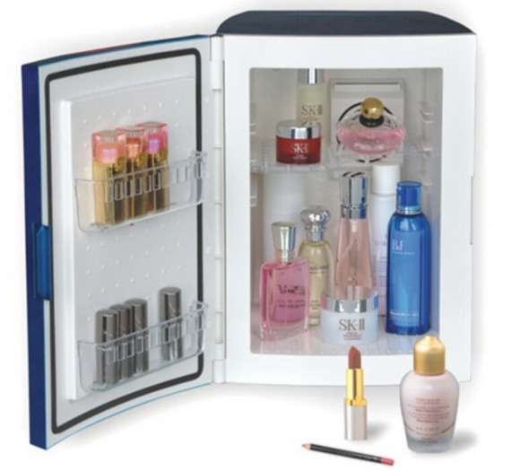 Глубокий и вместительный профессиональный настольный холодильник для косметики и несколькими уровнями