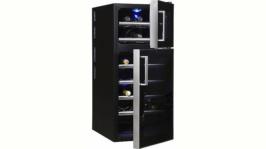 Большой двухкамерный винный шкаф с возможностью установки индивидуального теплового режима
