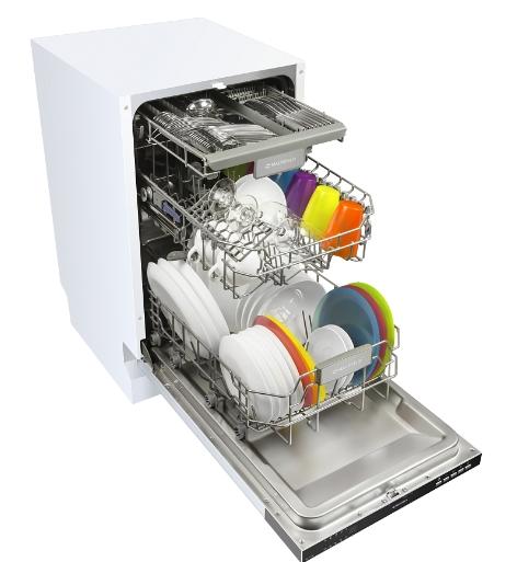 Отдельностоящая посудомоечная машина с тремя уровнями лотков в бункере под все виды посуды