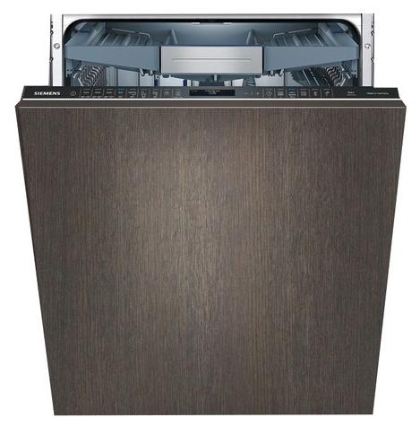 Популярная модель бытовой посудомоечной машины Siemens SN 678X50 TR с фасадом из темного дерева