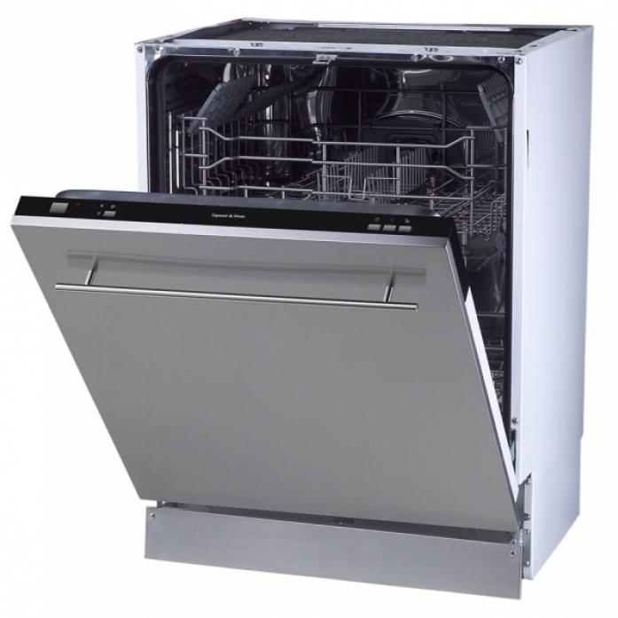 Широкая посудомоечная машина с удобной элегантной ручкой на фасаде и глубиной модели 54 сантиметров