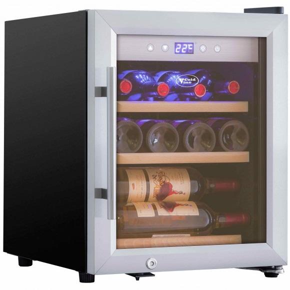 Квадратный небольшой винный шкаф Cold Vine C12-KSF1 с возможностью продольного и поперечного хранения