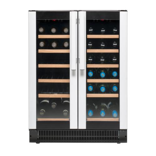 Вместительный двухдверный винный шкаф Vestfrost W 38 с функцией установки теплового режима в каждой камере