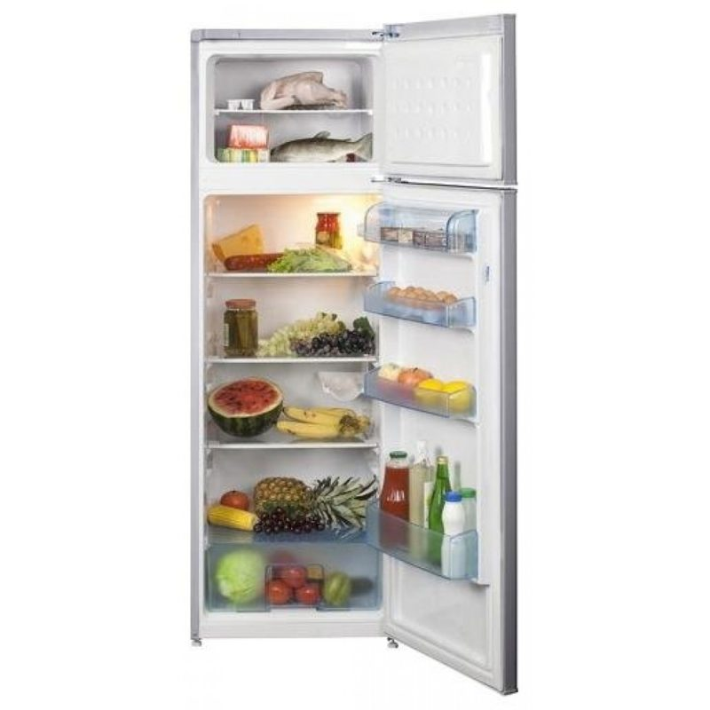 Простая модель двухкамерного холодильника Беко DS 325000 S с верхней морозилкой и открытыми отделениями