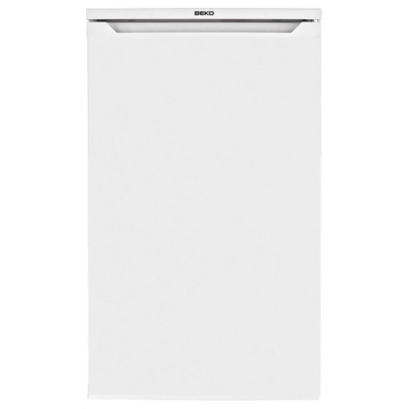 Фронтальная часть бытового холодильника Беко TS1 90320 с удобной впадиной наверху для открывания
