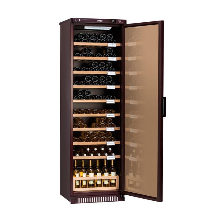 Большой широкий промышленный винный шкаф Pozis ШВ-120 с непрозрачной дверцей для большого количества бутылок