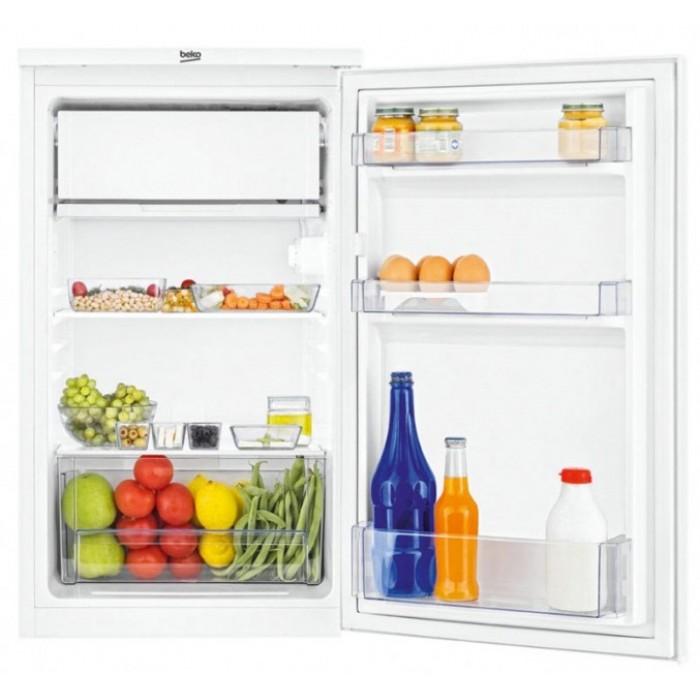Открытый компактный холодильник Беко TS1 90320 с одной камерой и строенной морозильной камерой