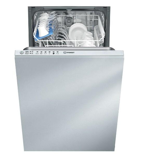 Полновстраиваемая узкая модель посудомоечной машины Indesit DISR 16B с панелью на торце двери