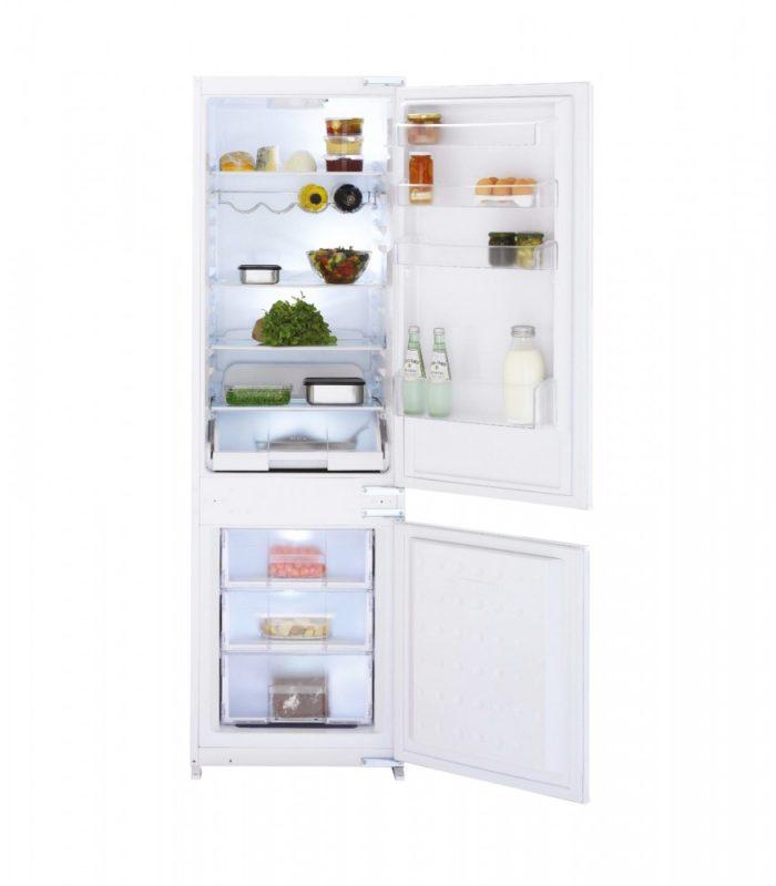 Модель двухкамерного холодильника Беко CBI 7771 с антибактериальным напылением и полкой для бутылок