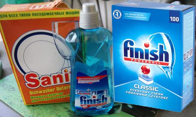 Порошок Санитол для посудомоечных машин, таблетки и моющий гель для посудомоек фирмы Финиш
