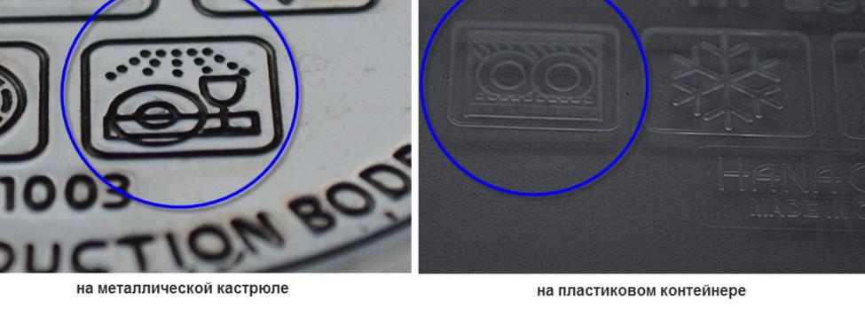 Значок на посудомоечной машине, оповещающий о том, что в ней можно мыть тот или иной тип посуды