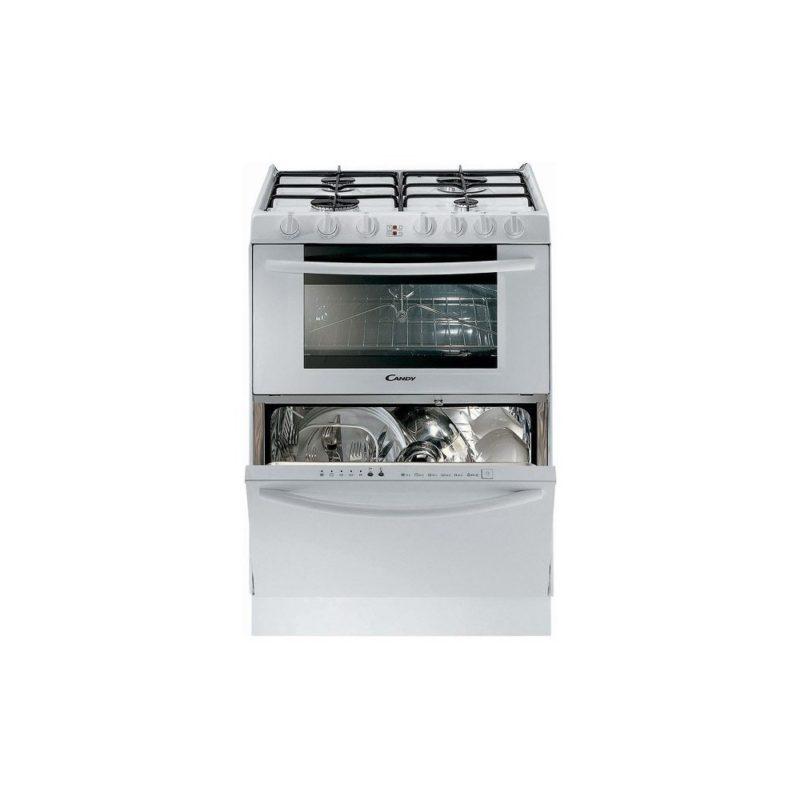 Комбинированная модель Candy TRIO9501W с газовой плитой, электрической духовкой и посудомоечной машиной