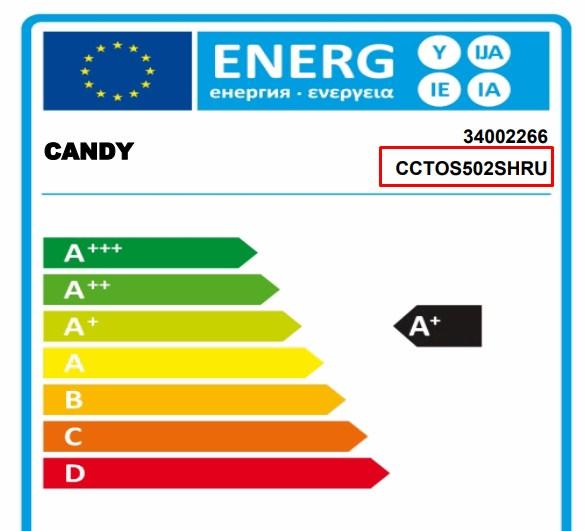 Наклейка с техническими характеристиками на одну из моделей холодильника компании Канди
