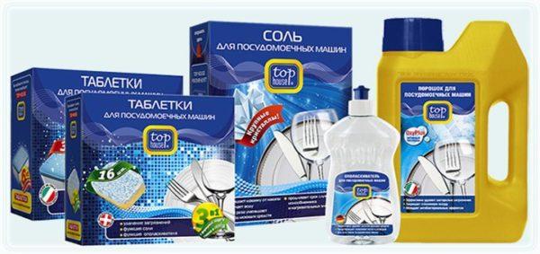 Полный набор моющих средств, ополаскивателя и соли для посудомоечной машины