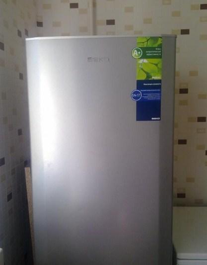 Холодильник Beko CS 328020 на обычной кухне в серебристом цвете с уровнем энергопотребления А+