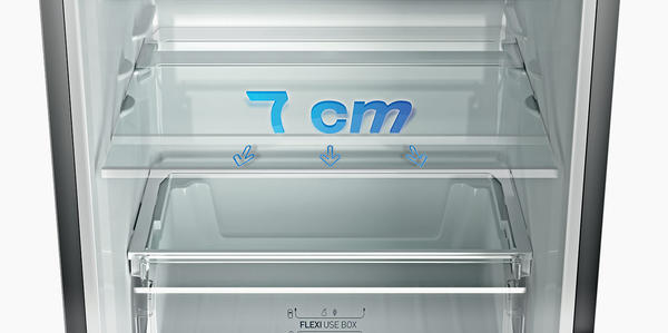 В холодильниках компании Индезит предусмотрена функция выдвижных полок для продуктов на 7 см вперед