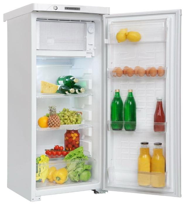 Пример небольшого однокамерного холодильника со встроенным морозильным отсеком вверху модели