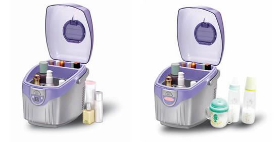 Стильный вместительный косметический холодильник, вмещающий в себя даже бутылочки с детским питанием
