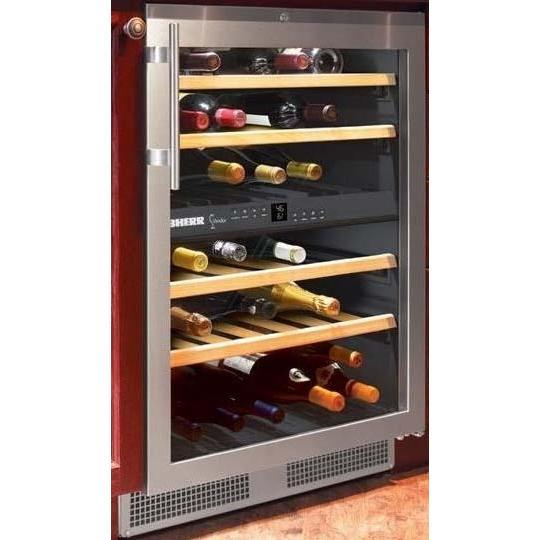 Пример встроенного винного холодильника в дизайнерскую кухню для горизонтального хранения бутылок