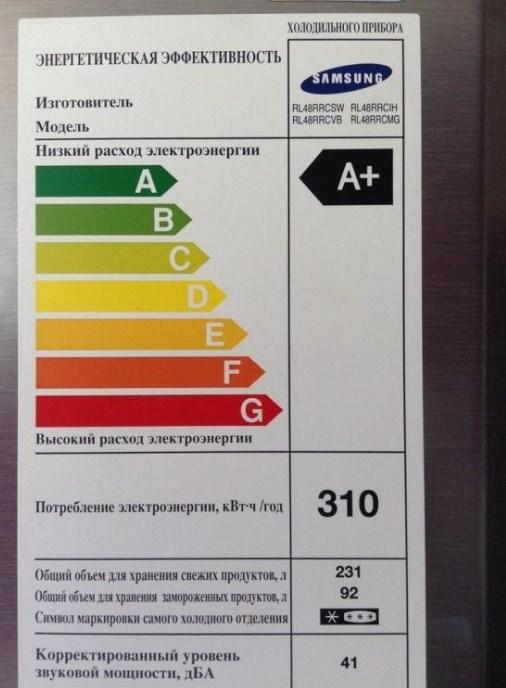 Наклейка на холодильник Самсунг с техническими характеристиками и классом энергетической эффективности
