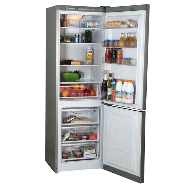 Популярный тип бытового холодильника двухкамерный с нижней морозилкой из трех отделений