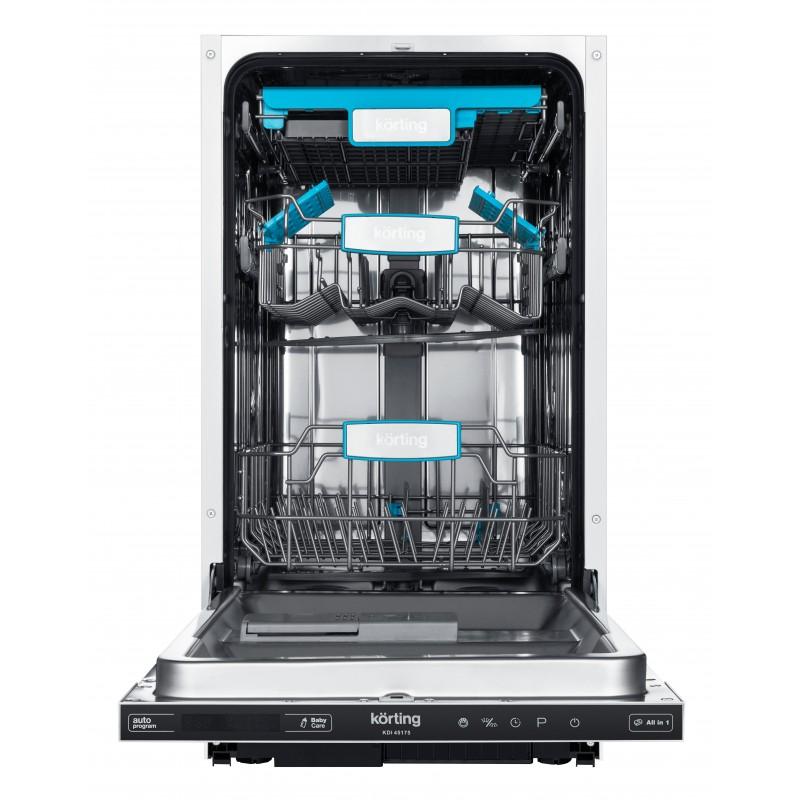 Стильная посудомоечная машина Korting KDI45175 с цветными элементами имеет глубину бункера 54 см