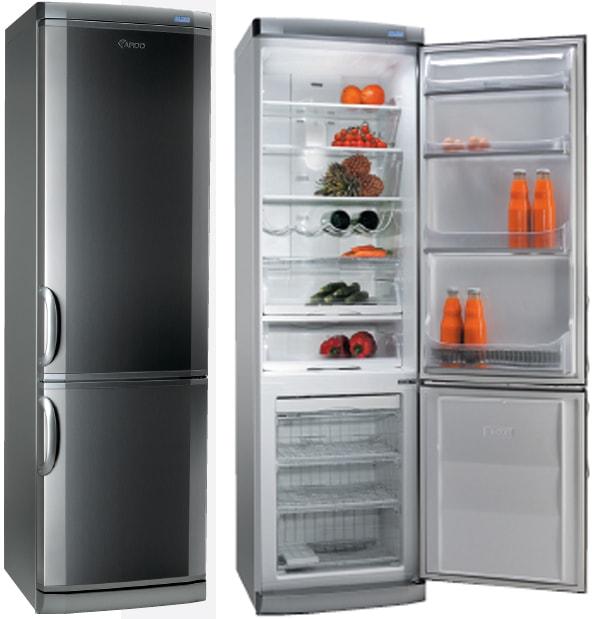 Дизайнерский двухкамерный холодильник Ардо линейки Hexagon с острыми скосами на дверце